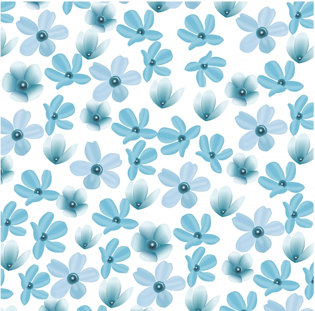 Eenvoudig bloemenpatroon. botanica achtergrond. modieuze bloemenprint Premium Vector