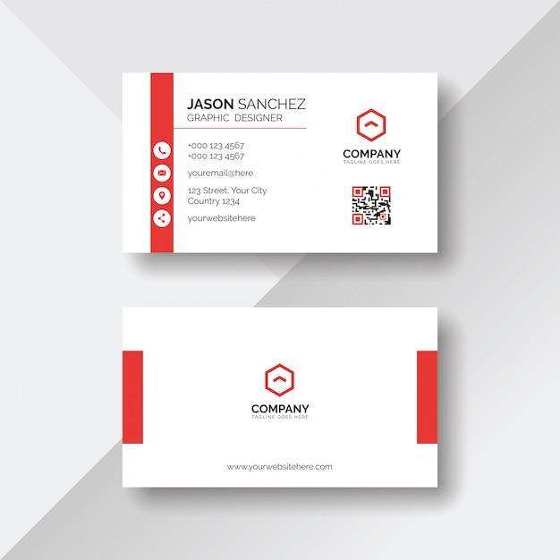Eenvoudig en schoon wit visitekaartje met rode details Premium Vector