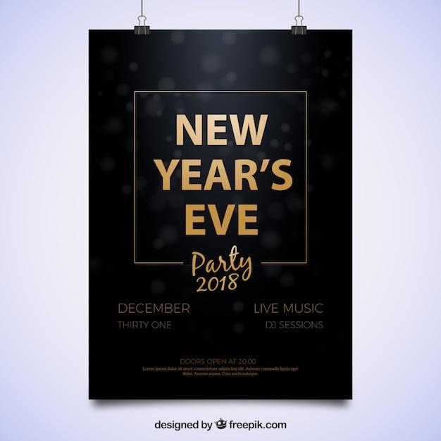 Eenvoudig feestposter voor oudejaarsavond Gratis Vector