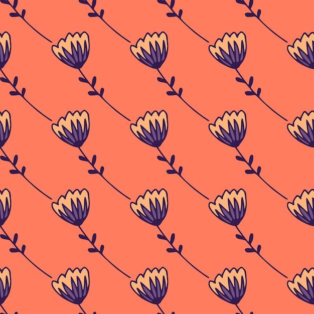 Eenvoudig gestileerd naadloos patroon met tulp abstracte figuren. blauw bloemenornament op koraalachtergrond. Premium Vector
