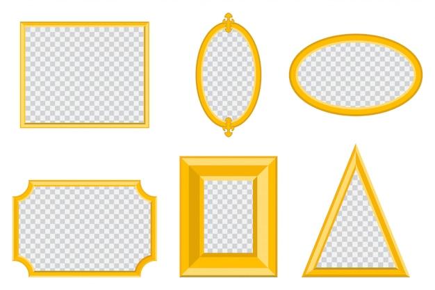 Eenvoudig gouden fotolijstje met verschillende vormen Premium Vector