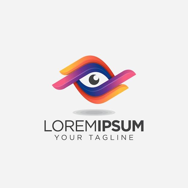 Eenvoudig kleurrijk ooglogo Premium Vector