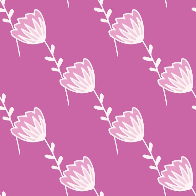 Eenvoudig minimalistisch naadloos patroon met witte voorgevormde bloem. lila achtergrond. Premium Vector