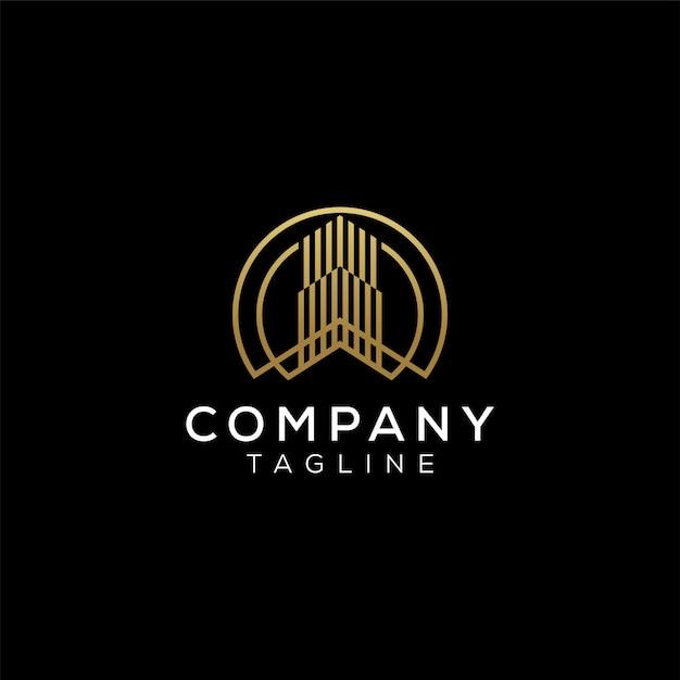 Eenvoudig modern minimalistisch luxe gouden huis voor onroerend goed bedrijfslogo-ontwerp op zwarte achtergrond Premium Vector