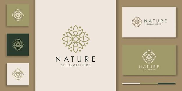 Eenvoudig natuur blad ornament logo ontwerp Premium Vector