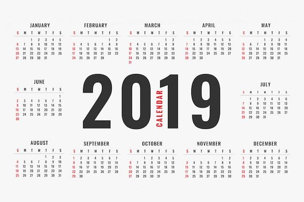Eenvoudig ontwerp van de kalender van 2019 Gratis Vector