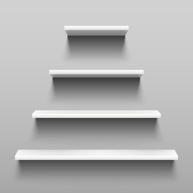Eenvoudig planken op witte muur voor binnenbinnenhuisarchitectuur. Premium Vector