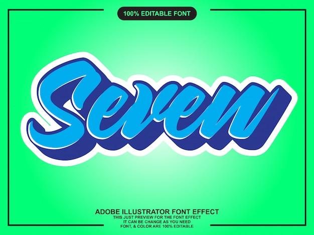 Eenvoudig plat script bewerkbaar typografie lettertype effect Premium Vector