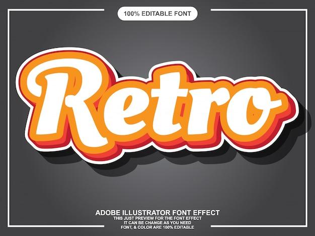 Eenvoudig retro script bewerkbaar typografie lettertype effect Premium Vector