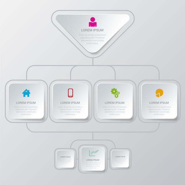 Eenvoudig stijlvol veelkleurig organisatiestructuurproces Gratis Vector