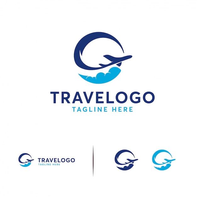 Eenvoudig travel-logo Premium Vector