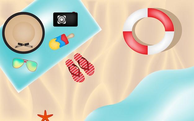 Eenvoudig uitzicht strand van boven zee Premium Vector
