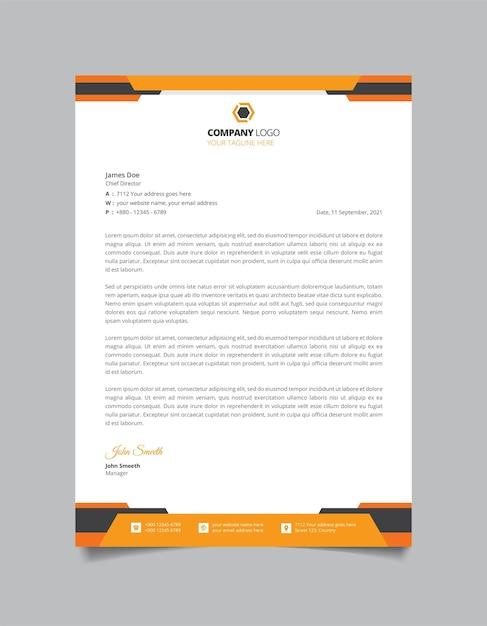 Eenvoudig zakelijk briefhoofd sjabloonontwerp Premium Vector