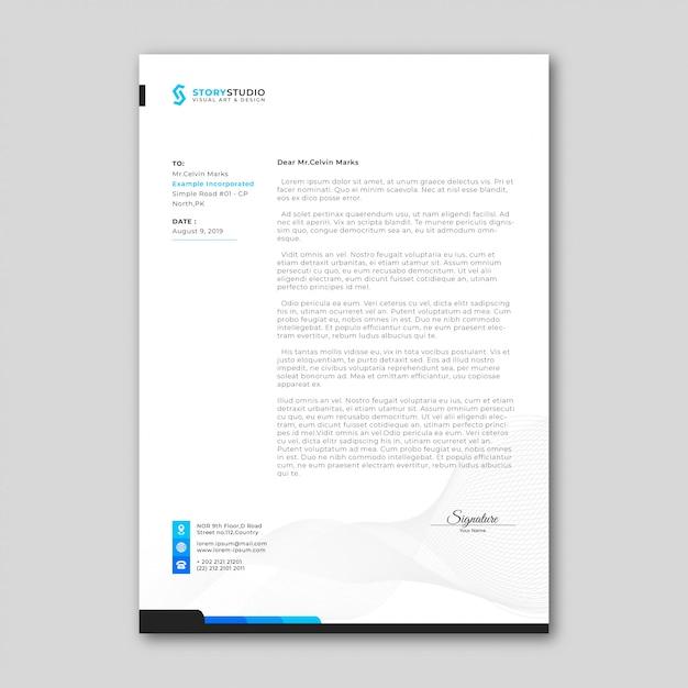 Eenvoudig zakelijk briefpapier template Premium Vector