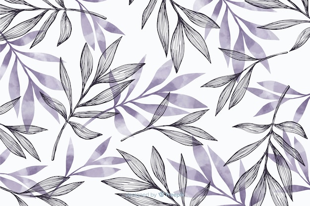 Eenvoudige achtergrond met grijze bladeren Gratis Vector