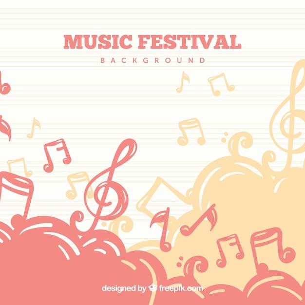 Eenvoudige achtergrond voor muziekfestival Gratis Vector