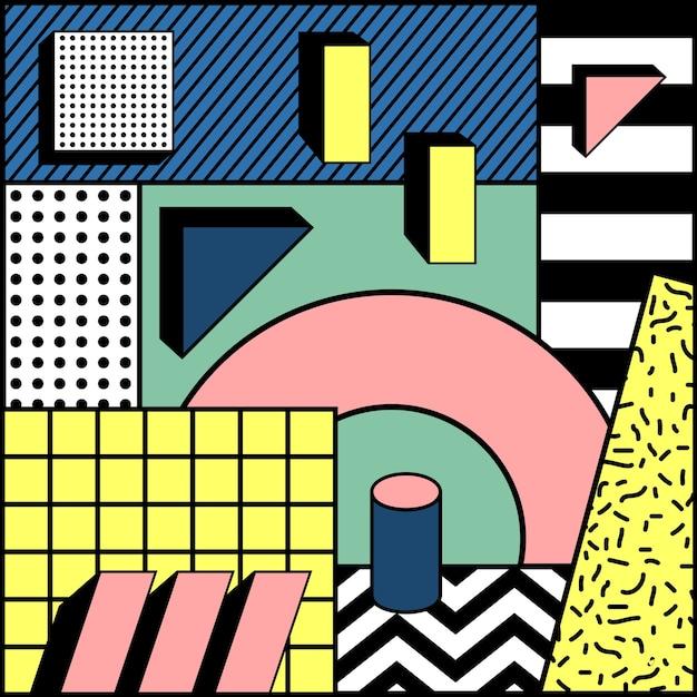 Eenvoudige blok kleurrijke geometrische stijlvolle achtergrond Premium Vector