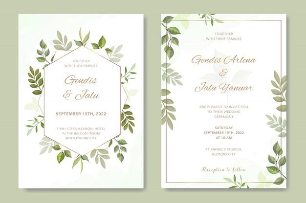 Eenvoudige bruiloft uitnodiging met bladeren vector Premium Vector
