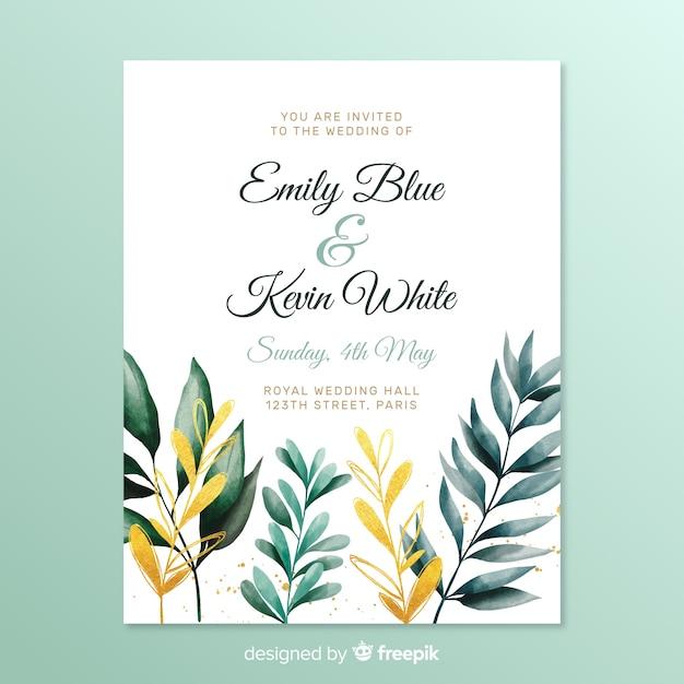 Eenvoudige bruiloft uitnodiging met bladeren Gratis Vector