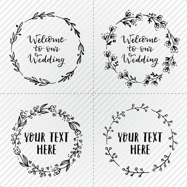 Eenvoudige bruiloftkransen Gratis Vector