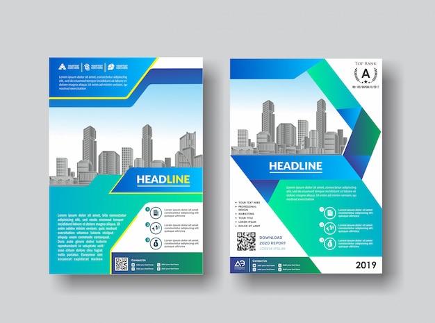 Eenvoudige cover lay-out brochure catalogus flyer voor achtergrond Premium Vector