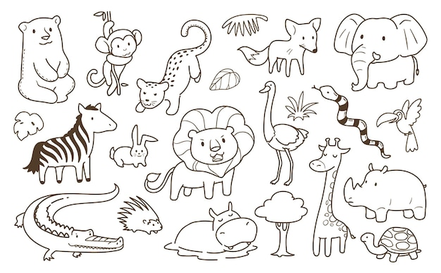 Eenvoudige dieren doodle Premium Vector
