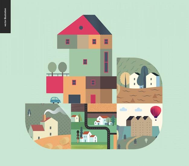 Eenvoudige dingen - huizen samenstelling Premium Vector