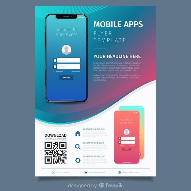 Eenvoudige flyer voor mobiele telefonie Gratis Vector