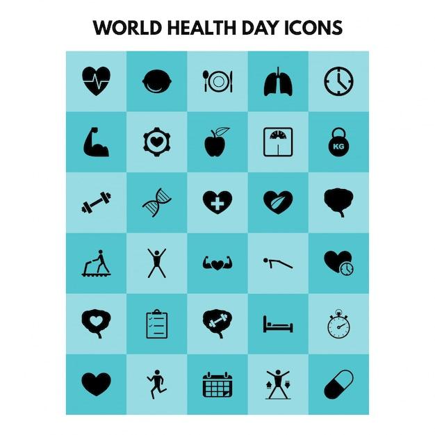 Eenvoudige gezondheids iconen instellen universeel gezondheids icoon dat gebruikt wordt voor web- en mobiel-gebruikersinterface met basis-ui-gezondheidselementen Gratis Vector