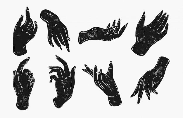 Eenvoudige hand illustraties in stempel silhouet stijl. hand getekend vintage artwork logo icoon. logo voor nagelsalon, manicure, schoonheidsspecialiste. vrouwelijke elegante handen en vingers, magische spreuken, handvormen Premium Vector