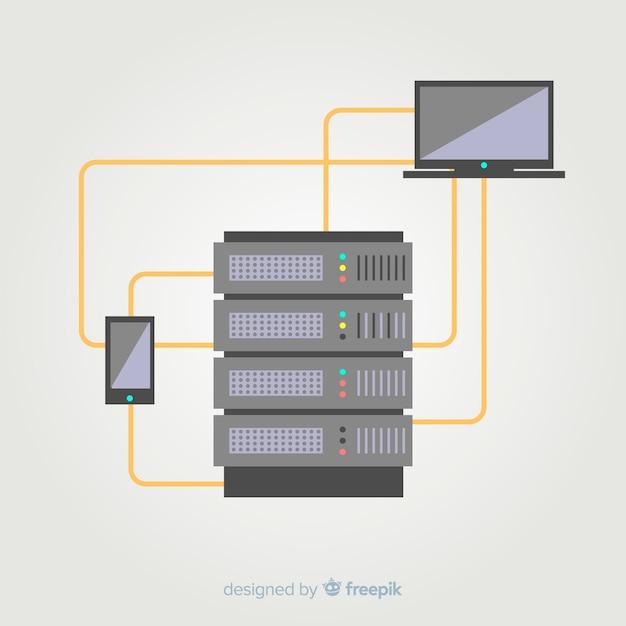 Eenvoudige hosting service achtergrond Gratis Vector