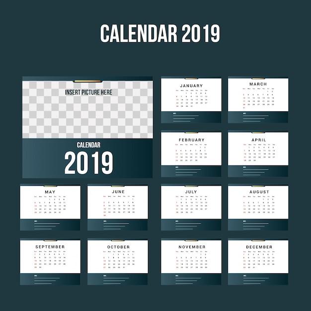 Eenvoudige kalender 2019 achtergrondsjabloon Premium Vector