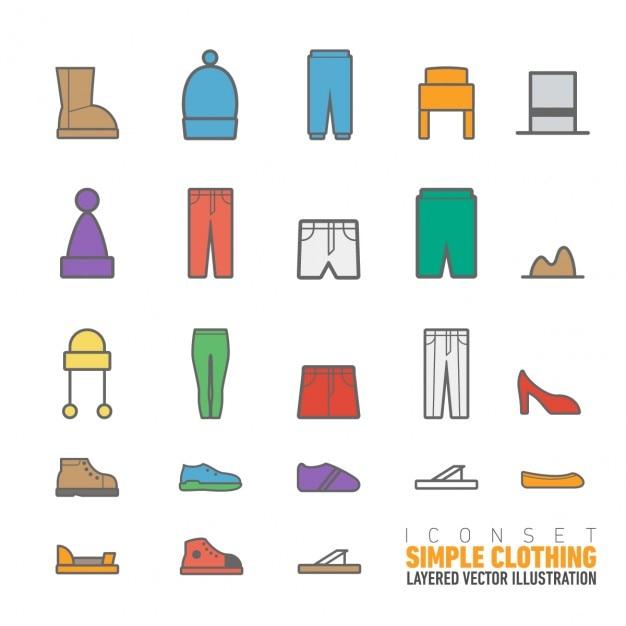 Eenvoudige kleding iconen pack Gratis Vector