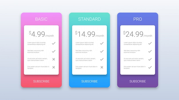 Eenvoudige kleurrijke prijsplannen sjabloon voor web Premium Vector