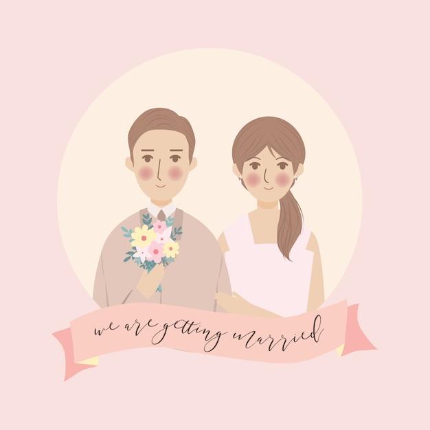 Eenvoudige leuke bruidspaar portret illustratie, sparen de datum bruiloft uitnodiging met roze achtergrond Premium Vector