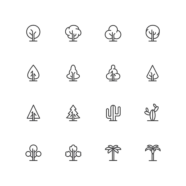 Eenvoudige lineart bomen pictogrammen, landschap lijn symbolen, geïsoleerde plant tekenen Premium Vector