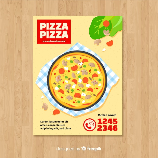 Eenvoudige pizza flyer sjabloon Gratis Vector
