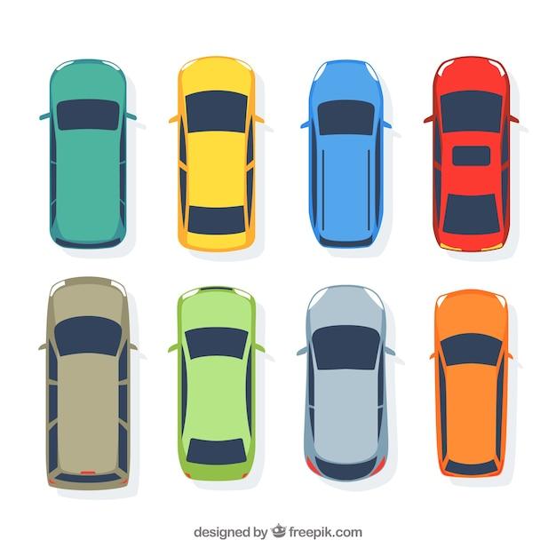 Eenvoudige platte auto collectie Gratis Vector