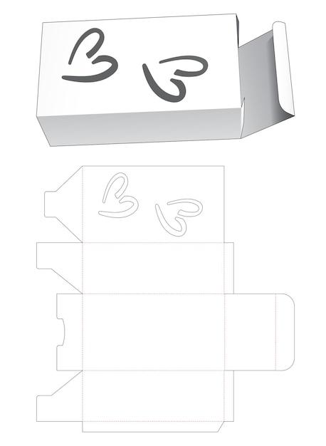 Eenvoudige rechthoekige doos met 2 hartvormige venster gestanste sjabloon Premium Vector