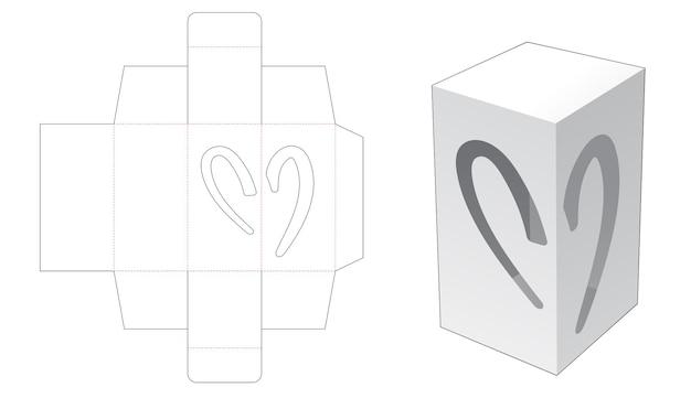 Eenvoudige rechthoekige verpakking met 2 helften hartvormig venster gestanst sjabloon Premium Vector