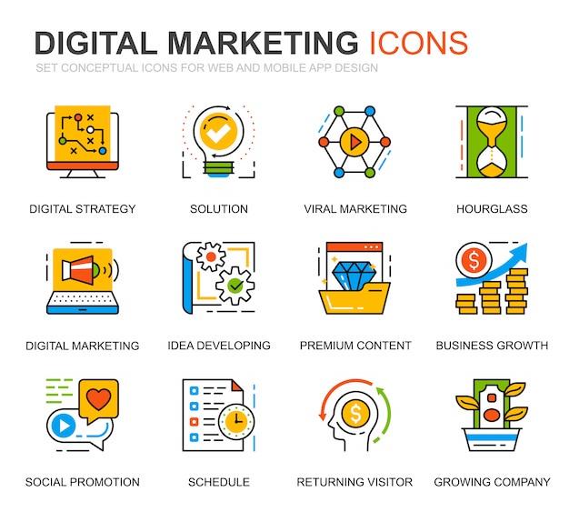 Eenvoudige reeks bedrijfs en marketing lijnpictogrammen voor website Premium Vector