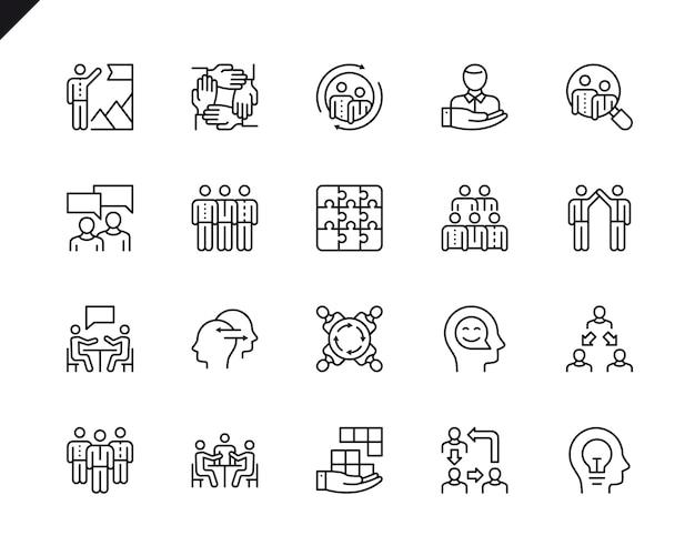 Eenvoudige reeks groepswerk verwante vectorlijnpictogrammen. Premium Vector