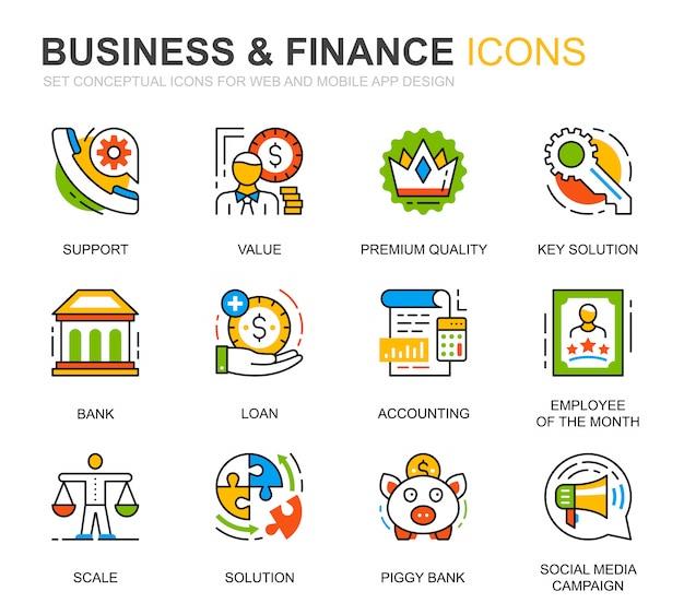 Eenvoudige reeks zakelijke en financiële lijn pictogrammen voor website Premium Vector