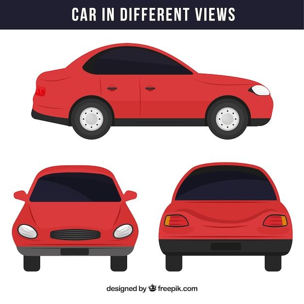 Eenvoudige rode auto in verschillende standpunten Gratis Vector