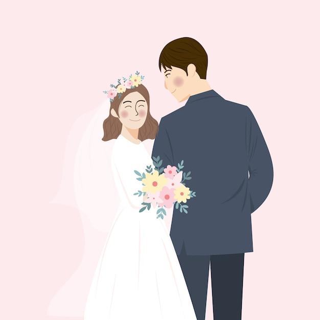 Eenvoudige schattig bruidspaar portret illustratie knuffel en omhelzen elkaar, sparen de datum bruiloft uitnodiging met roze achtergrond Premium Vector