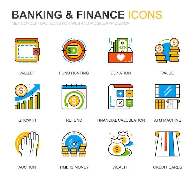 Eenvoudige set bank- en financiën lijn pictogrammen voor website Premium Vector