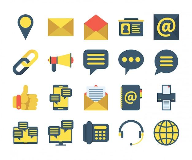 Eenvoudige set van contact us pictogrammen in vlakke stijl. bevat pictogrammen zoals locatie, adresboek, bericht, ondersteuning en meer. Premium Vector
