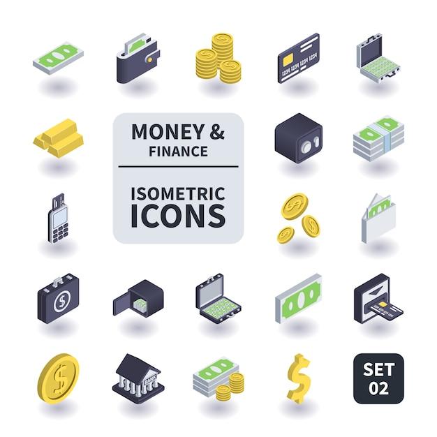 Eenvoudige set van geld en financiën pictogrammen. Premium Vector