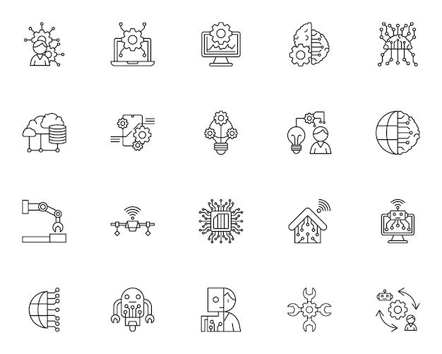 Eenvoudige set van kunstmatige intelligentie gerelateerde pictogrammen in lijnstijl Premium Vector