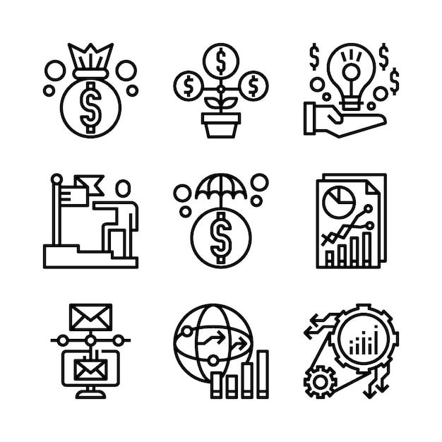 Eenvoudige set van marketinggerelateerde lijnpictogrammen. Premium Vector